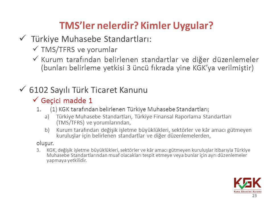 TMS'ler nelerdir? Kimler Uygular? Türkiye Muhasebe Standartları: TMS/TFRS ve yorumlar Kurum tarafından belirlenen standartlar ve diğer düzenlemeler (b