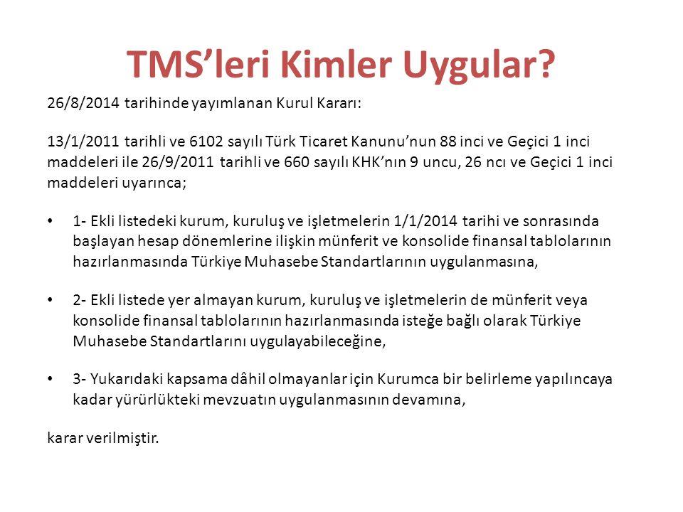TMS'leri Kimler Uygular? 26/8/2014 tarihinde yayımlanan Kurul Kararı: 13/1/2011 tarihli ve 6102 sayılı Türk Ticaret Kanunu'nun 88 inci ve Geçici 1 inc