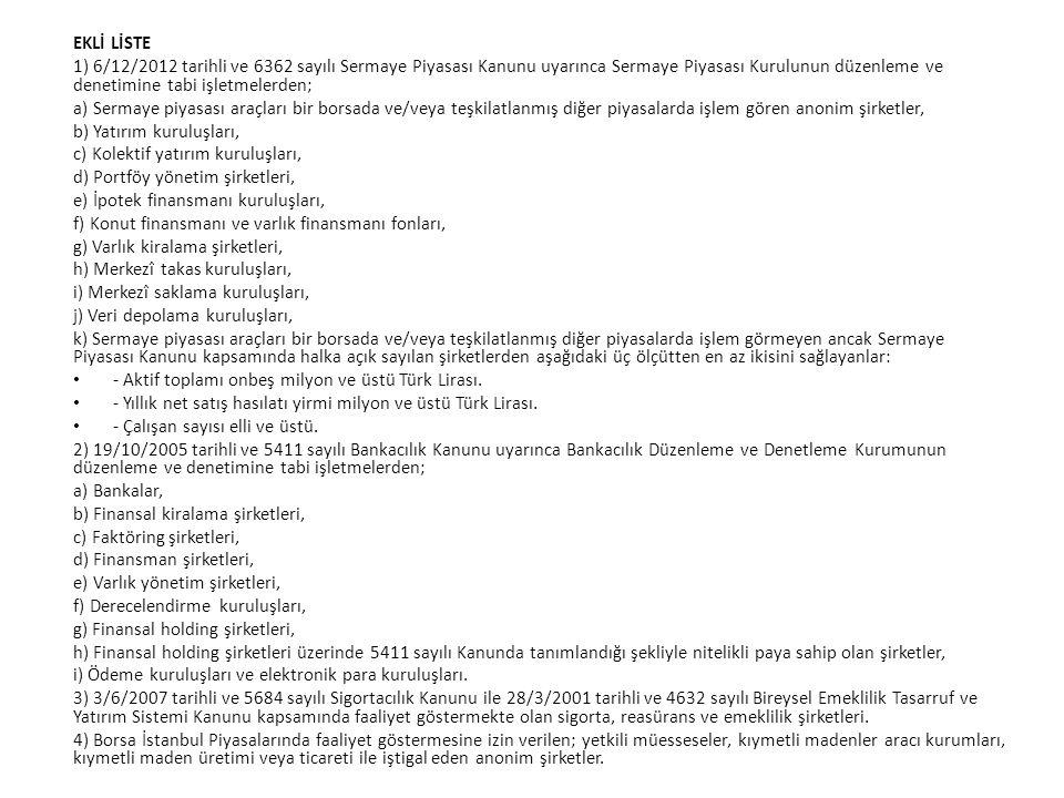 EKLİ LİSTE 1) 6/12/2012 tarihli ve 6362 sayılı Sermaye Piyasası Kanunu uyarınca Sermaye Piyasası Kurulunun düzenleme ve denetimine tabi işletmelerden;