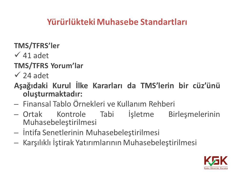 Yürürlükteki Muhasebe Standartları 28 TMS/TFRS'ler 41 adet TMS/TFRS Yorum'lar 24 adet Aşağıdaki Kurul İlke Kararları da TMS'lerin bir cüz'ünü oluşturm