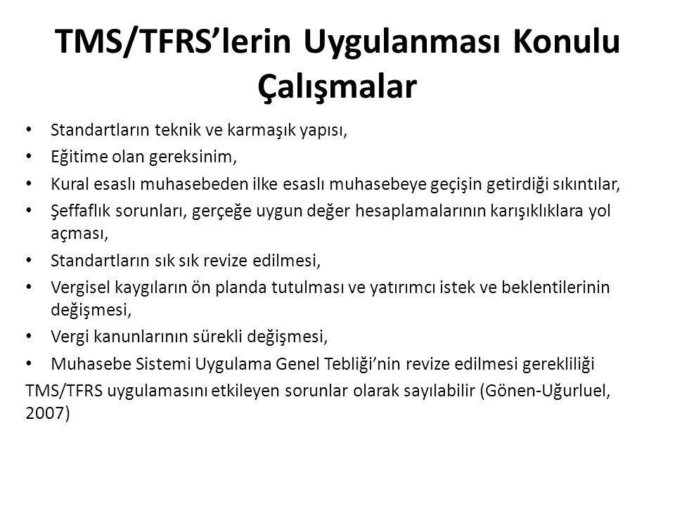 TMS/TFRS'lerin Uygulanması Konulu Çalışmalar Standartların teknik ve karmaşık yapısı, Eğitime olan gereksinim, Kural esaslı muhasebeden ilke esaslı mu