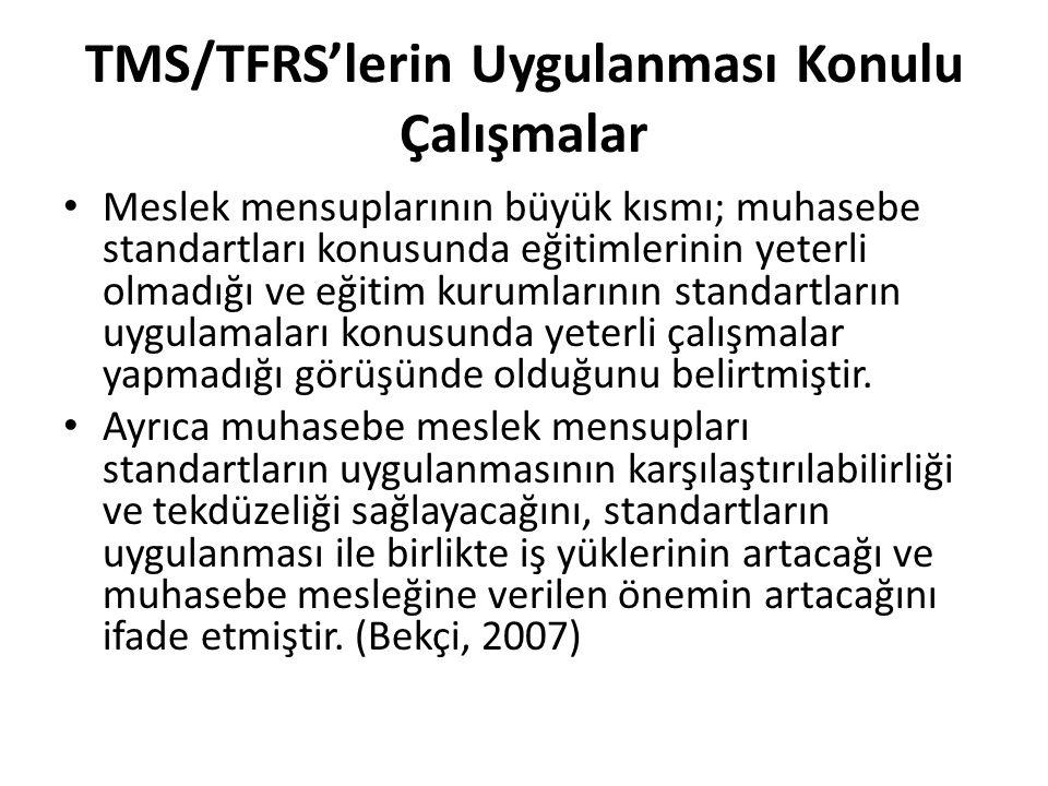 TMS/TFRS'lerin Uygulanması Konulu Çalışmalar Meslek mensuplarının büyük kısmı; muhasebe standartları konusunda eğitimlerinin yeterli olmadığı ve eğiti