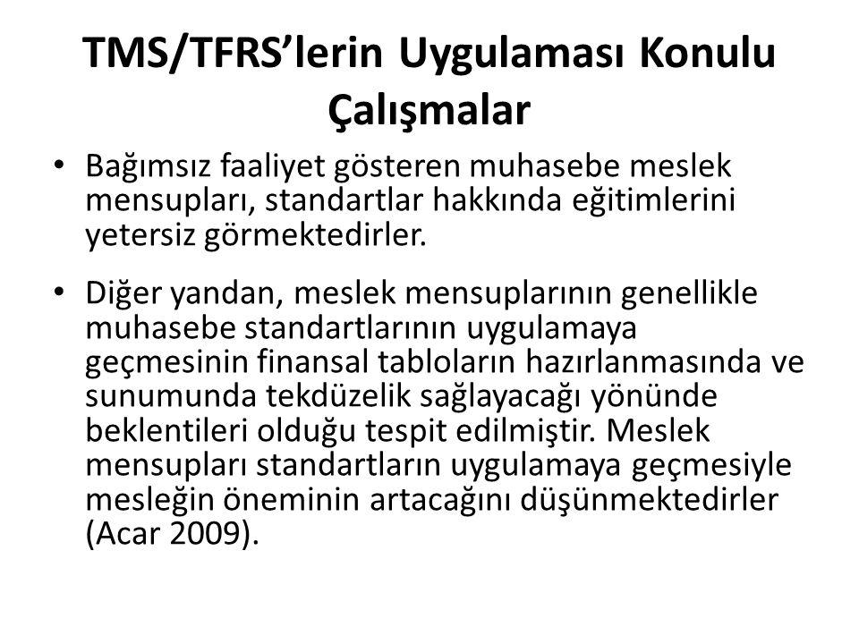 TMS/TFRS'lerin Uygulaması Konulu Çalışmalar Bağımsız faaliyet gösteren muhasebe meslek mensupları, standartlar hakkında eğitimlerini yetersiz görmekte
