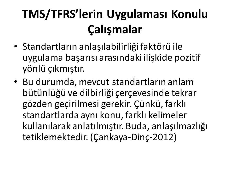 TMS/TFRS'lerin Uygulaması Konulu Çalışmalar Standartların anlaşılabilirliği faktörü ile uygulama başarısı arasındaki ilişkide pozitif yönlü çıkmıştır.