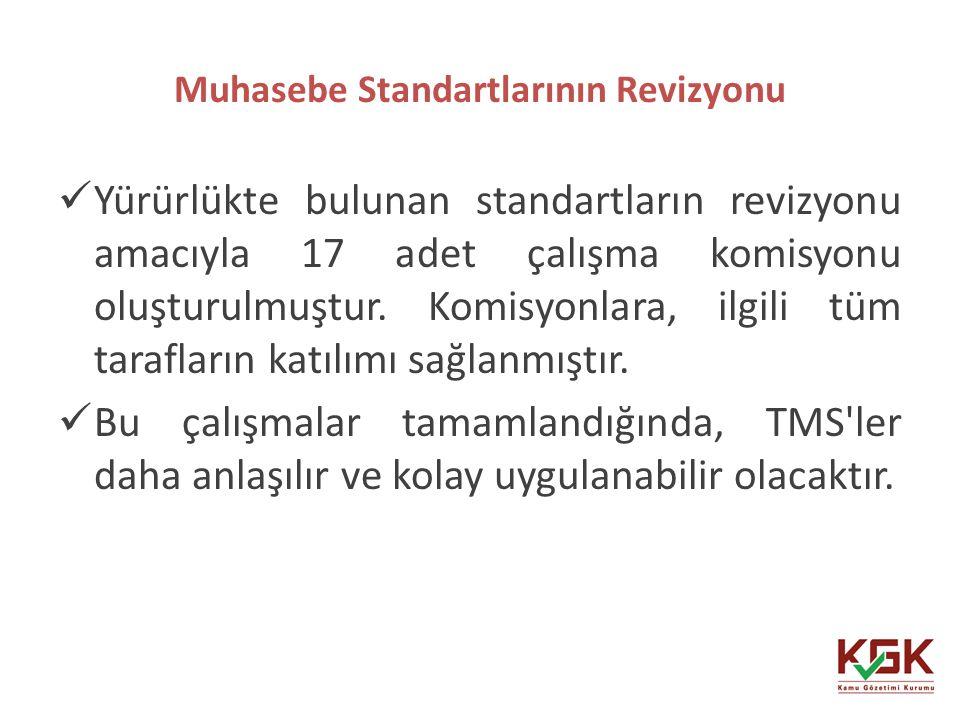 Muhasebe Standartlarının Revizyonu 41 Yürürlükte bulunan standartların revizyonu amacıyla 17 adet çalışma komisyonu oluşturulmuştur. Komisyonlara, ilg