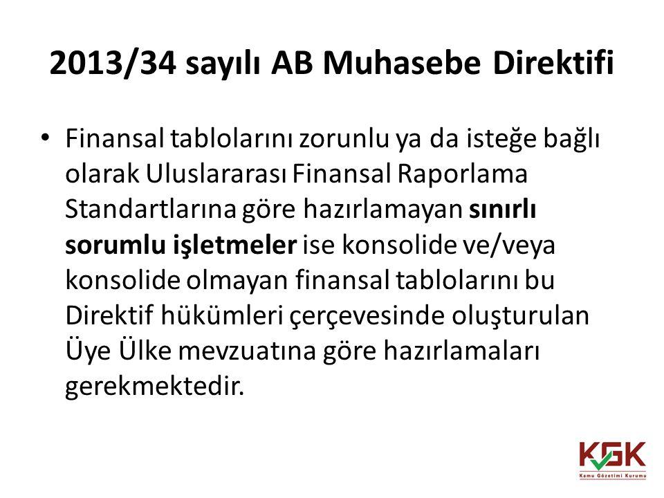 2013/34 sayılı AB Muhasebe Direktifi Finansal tablolarını zorunlu ya da isteğe bağlı olarak Uluslararası Finansal Raporlama Standartlarına göre hazırl