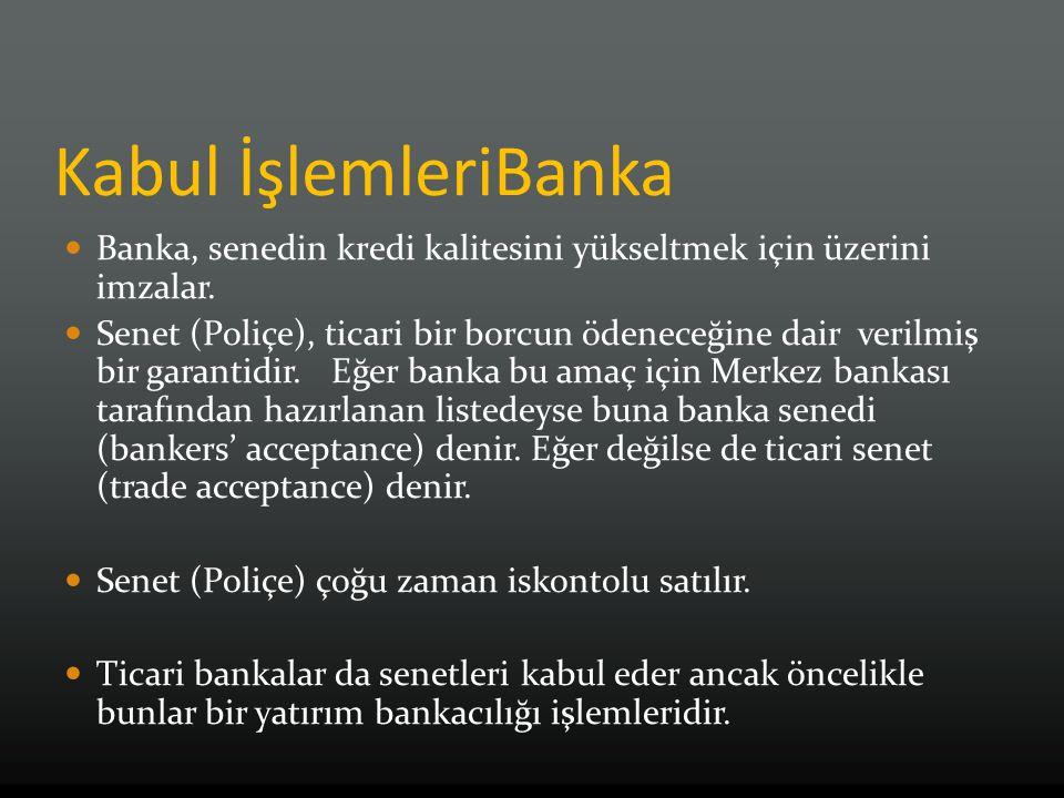 Kabul İşlemleriBanka Banka, senedin kredi kalitesini yükseltmek için üzerini imzalar. Senet (Poliçe), ticari bir borcun ödeneceğine dair verilmiş bir