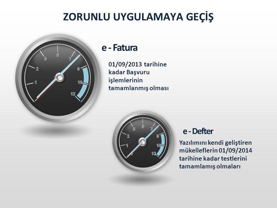 ZORUNLU UYGULAMAYA GEÇİŞ e - Fatura 01/09/2013 tarihine kadar Başvuru işlemlerinin tamamlanmış olması e - Defter Yazılımını kendi geliştiren mükelleflerin 01/09/2014 tarihine kadar testlerini tamamlamış olmaları