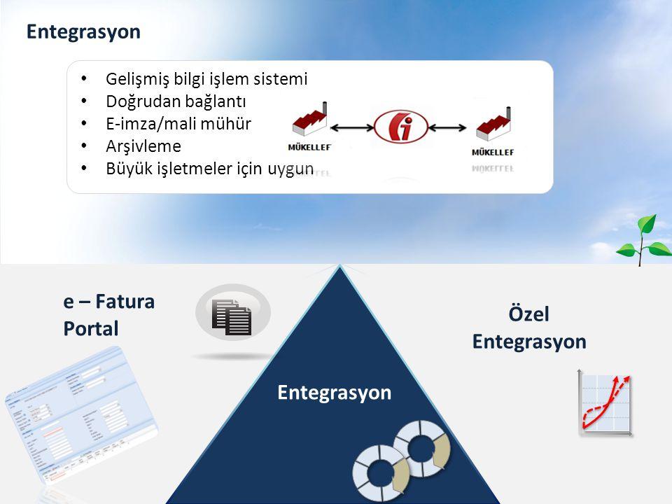 Entegrasyon Özel Entegrasyon e – Fatura Portal Entegrasyon Gelişmiş bilgi işlem sistemi Doğrudan bağlantı E-imza/mali mühür Arşivleme Büyük işletmeler için uygun