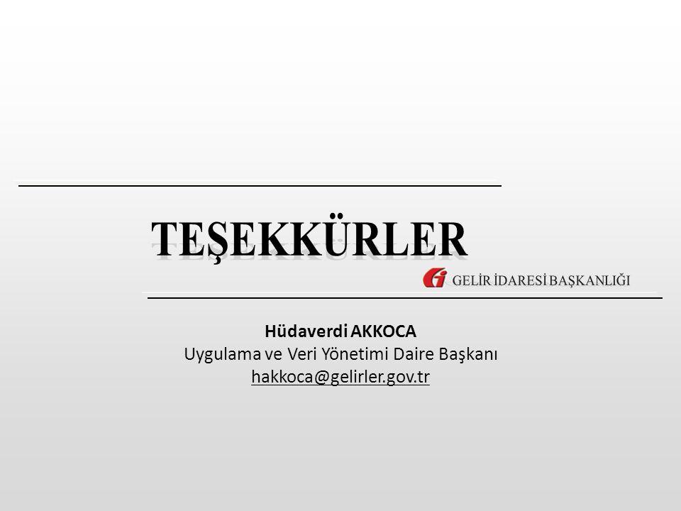 Hüdaverdi AKKOCA Uygulama ve Veri Yönetimi Daire Başkanı hakkoca@gelirler.gov.tr