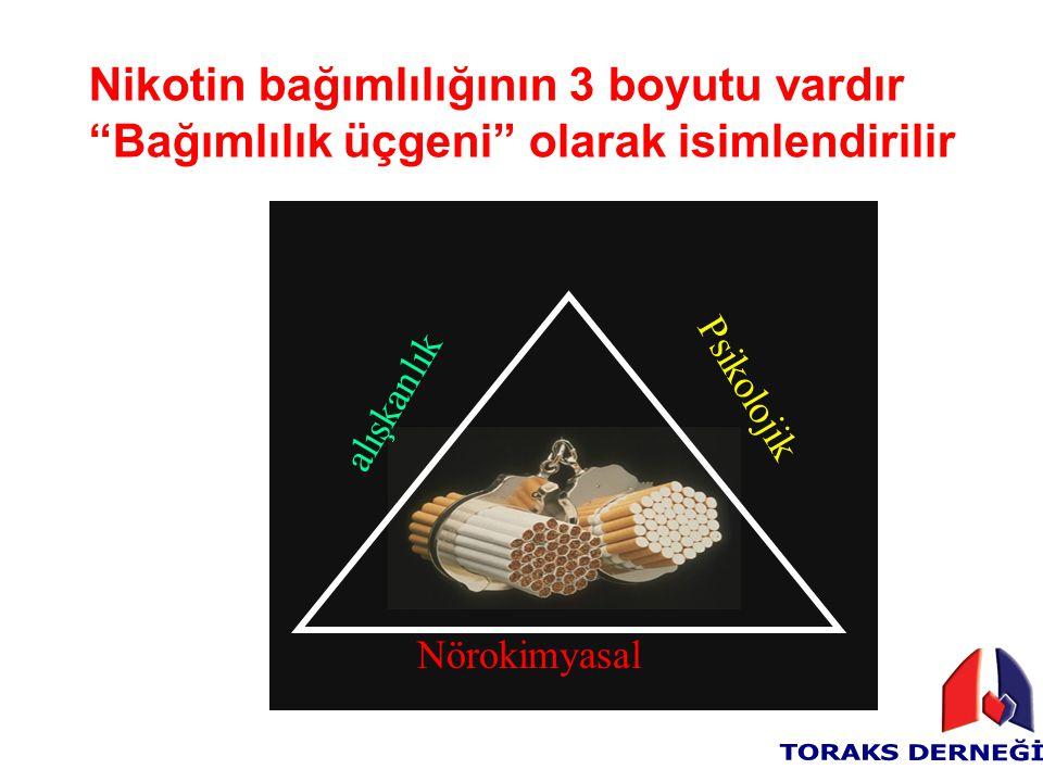 """Nikotin bağımlılığının 3 boyutu vardır """"Bağımlılık üçgeni"""" olarak isimlendirilir Nörokimyasal alışkanlık Psikolojik"""