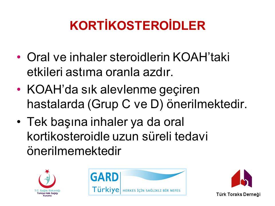 KORTİKOSTEROİDLER Oral ve inhaler steroidlerin KOAH'taki etkileri astıma oranla azdır. KOAH'da sık alevlenme geçiren hastalarda (Grup C ve D) önerilme