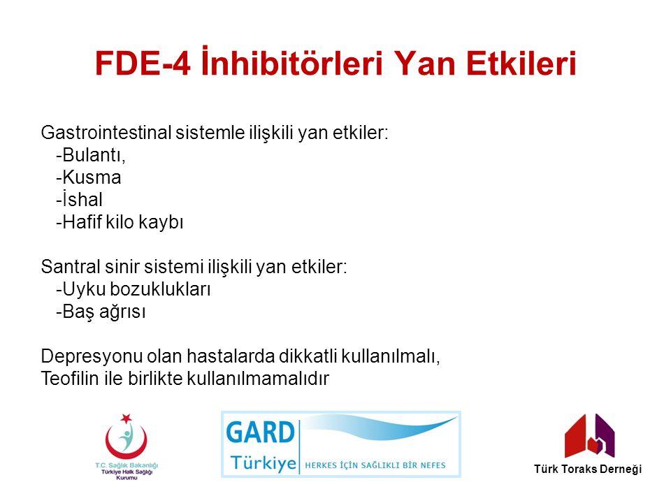 FDE-4 İnhibitörleri Yan Etkileri Gastrointestinal sistemle ilişkili yan etkiler: -Bulantı, -Kusma -İshal -Hafif kilo kaybı Santral sinir sistemi ilişk