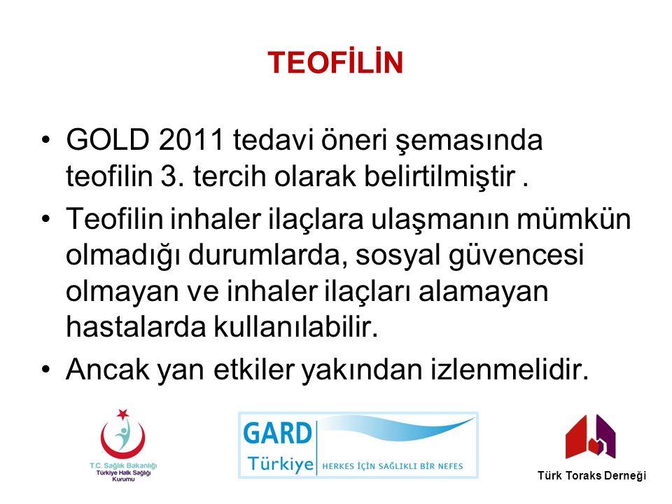 TEOFİLİN GOLD 2011 tedavi öneri şemasında teofilin 3. tercih olarak belirtilmiştir. Teofilin inhaler ilaçlara ulaşmanın mümkün olmadığı durumlarda, so