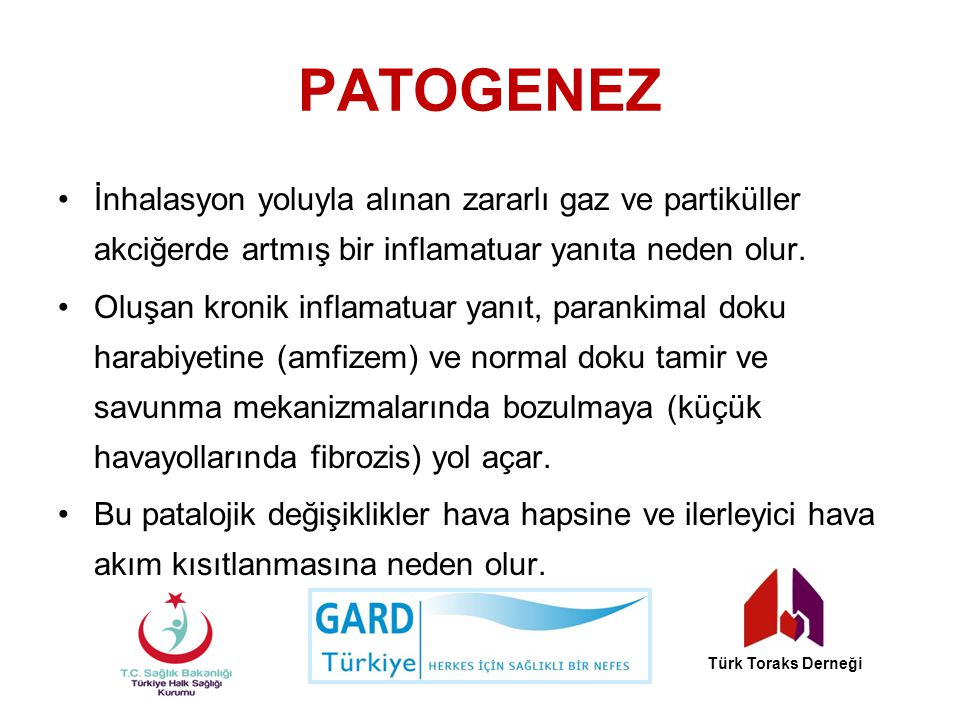 Stabil KOAH ta İlaç Dışı Tedavi Sigaranın bıraktırılması Hasta eğitimi Yıllık influenza aşısı Pnömokok aşısı Akciğer rehabilitasyonu Türk Toraks Derneği