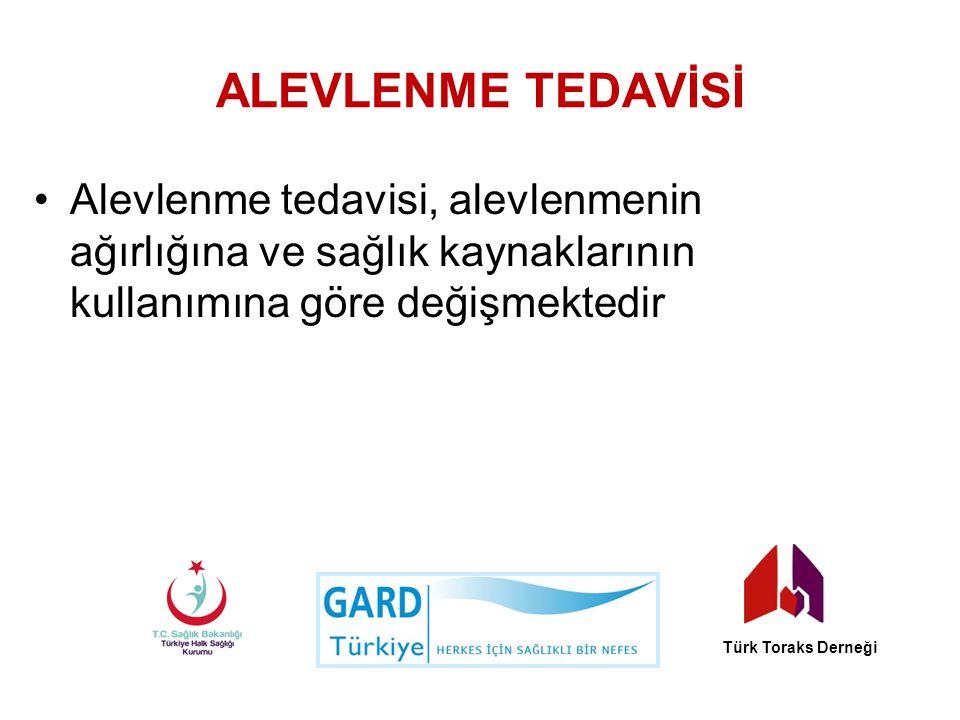 ALEVLENME TEDAVİSİ Alevlenme tedavisi, alevlenmenin ağırlığına ve sağlık kaynaklarının kullanımına göre değişmektedir Türk Toraks Derneği