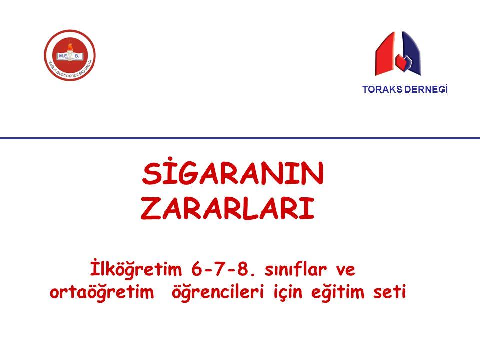 SİGARANIN ZARARLARI İlköğretim 6-7-8. sınıflar ve ortaöğretim öğrencileri için eğitim seti TORAKS DERNEĞİ