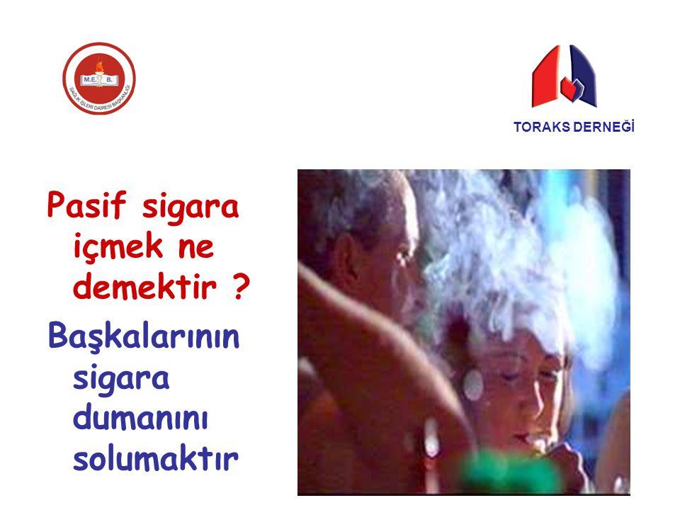Pasif sigara içmek ne demektir ? Başkalarının sigara dumanını solumaktır TORAKS DERNEĞİ