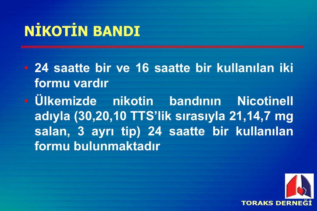 NİKOTİN BANDI 24 saatte bir ve 16 saatte bir kullanılan iki formu vardır Ülkemizde nikotin bandının Nicotinell adıyla (30,20,10 TTS'lik sırasıyla 21,1