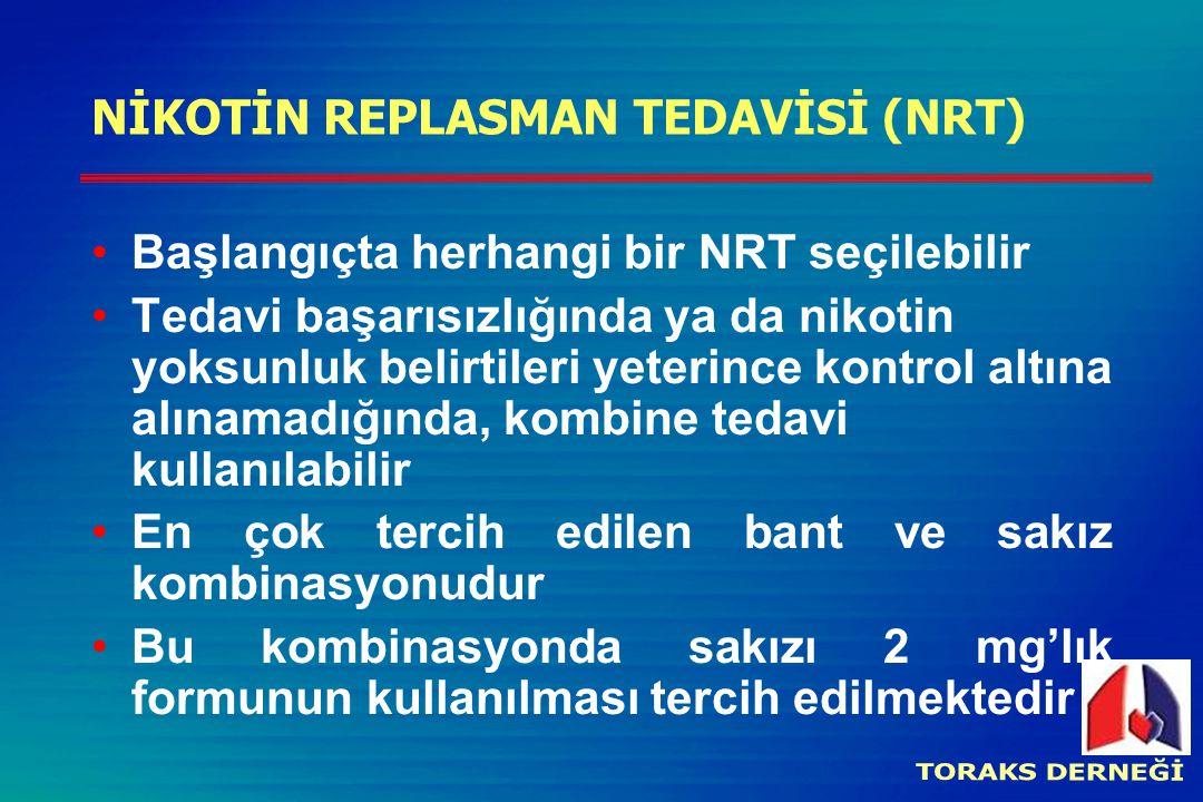 NİKOTİN REPLASMAN TEDAVİSİ (NRT) Başlangıçta herhangi bir NRT seçilebilir Tedavi başarısızlığında ya da nikotin yoksunluk belirtileri yeterince kontrol altına alınamadığında, kombine tedavi kullanılabilir En çok tercih edilen bant ve sakız kombinasyonudur Bu kombinasyonda sakızı 2 mg'lık formunun kullanılması tercih edilmektedir