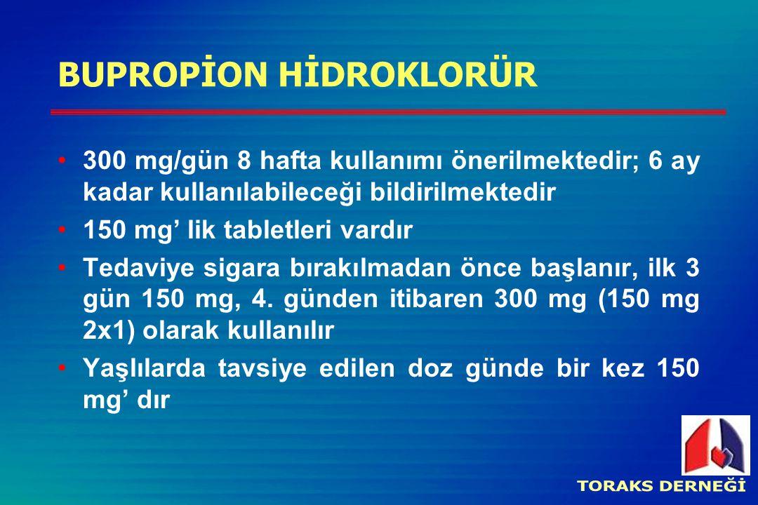 BUPROPİON HİDROKLORÜR 300 mg/gün 8 hafta kullanımı önerilmektedir; 6 ay kadar kullanılabileceği bildirilmektedir 150 mg' lik tabletleri vardır Tedaviye sigara bırakılmadan önce başlanır, ilk 3 gün 150 mg, 4.