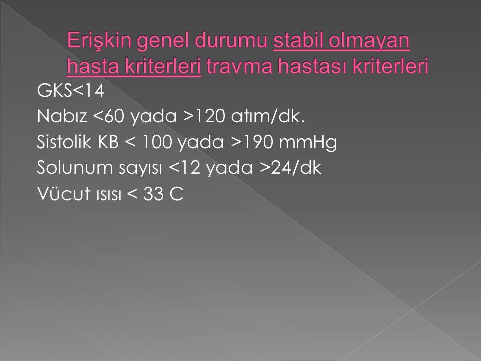 GKS<14 Nabız 120 atım/dk. Sistolik KB 190 mmHg Solunum sayısı 24/dk Vücut ısısı < 33 C