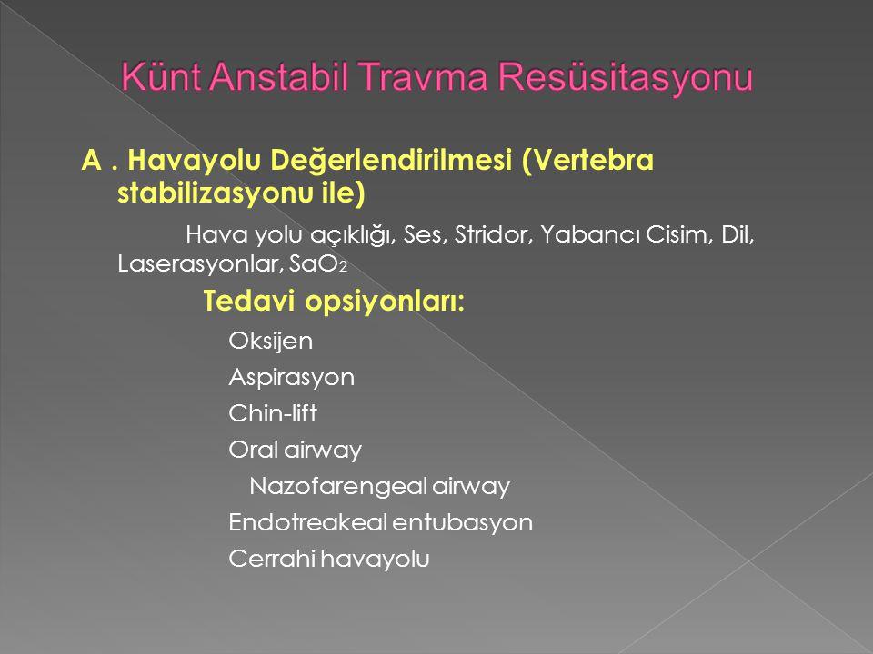A. Havayolu Değerlendirilmesi (Vertebra stabilizasyonu ile) Hava yolu açıklığı, Ses, Stridor, Yabancı Cisim, Dil, Laserasyonlar, SaO 2 Tedavi opsiyonl