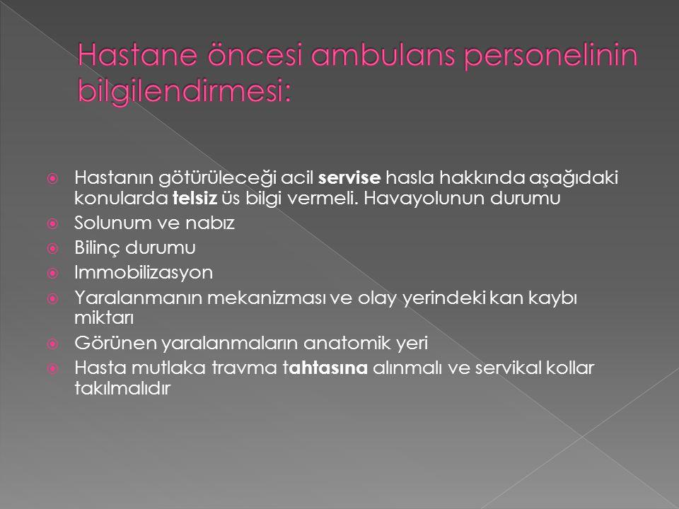  Hastanın götürüleceği acil servise hasla hakkında aşağıdaki konularda telsiz üs bilgi vermeli.
