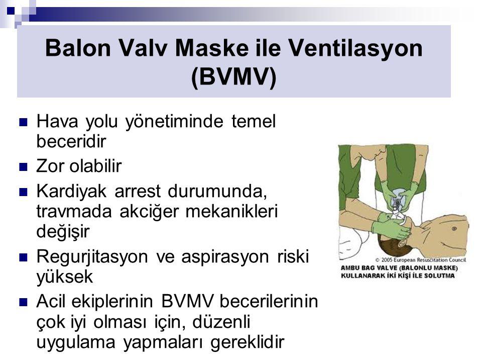 Hava yolu yönetiminde temel beceridir Zor olabilir Kardiyak arrest durumunda, travmada akciğer mekanikleri değişir Regurjitasyon ve aspirasyon riski yüksek Acil ekiplerinin BVMV becerilerinin çok iyi olması için, düzenli uygulama yapmaları gereklidir Balon Valv Maske ile Ventilasyon (BVMV)