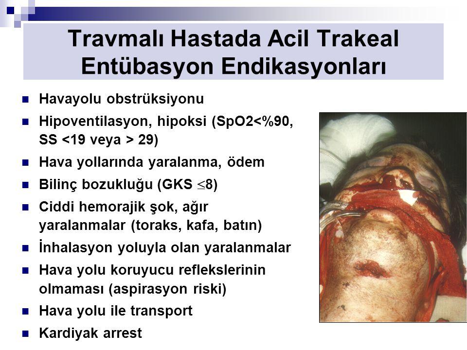 Travmalı Hastada Acil Trakeal Entübasyon Endikasyonları Havayolu obstrüksiyonu Hipoventilasyon, hipoksi (SpO2 29) Hava yollarında yaralanma, ödem Bilinç bozukluğu (GKS  8) Ciddi hemorajik şok, ağır yaralanmalar (toraks, kafa, batın) İnhalasyon yoluyla olan yaralanmalar Hava yolu koruyucu reflekslerinin olmaması (aspirasyon riski) Hava yolu ile transport Kardiyak arrest