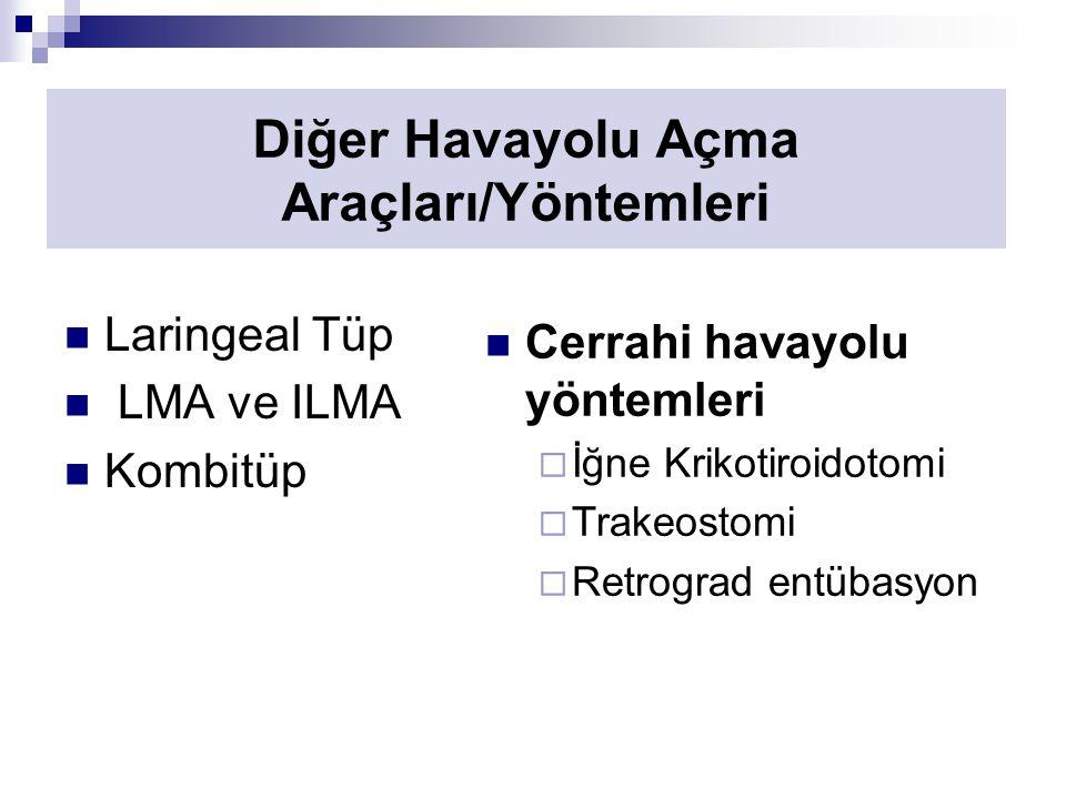 Diğer Havayolu Açma Araçları/Yöntemleri Laringeal Tüp LMA ve ILMA Kombitüp Cerrahi havayolu yöntemleri  İğne Krikotiroidotomi  Trakeostomi  Retrograd entübasyon