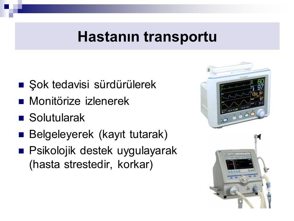 Hastanın transportu Şok tedavisi sürdürülerek Monitörize izlenerek Solutularak Belgeleyerek (kayıt tutarak) Psikolojik destek uygulayarak (hasta strestedir, korkar)