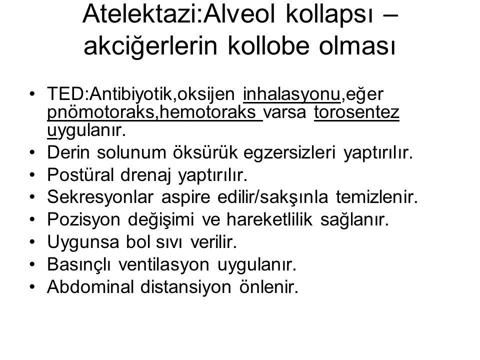 Atelektazi:Alveol kollapsı – akciğerlerin kollobe olması TED:Antibiyotik,oksijen inhalasyonu,eğer pnömotoraks,hemotoraks varsa torosentez uygulanır. D