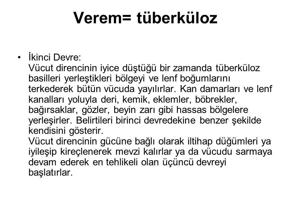 Verem= tüberküloz İkinci Devre: Vücut direncinin iyice düştüğü bir zamanda tüberküloz basilleri yerleştikleri bölgeyi ve lenf boğumlarını terkederek b