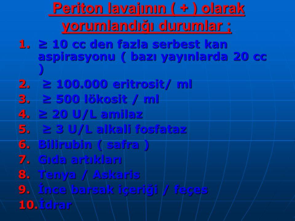 Periton lavajının ( + ) olarak yorumlandığı durumlar ; Periton lavajının ( + ) olarak yorumlandığı durumlar ; 1.≥ 10 cc den fazla serbest kan aspirasyonu ( bazı yayınlarda 20 cc ) 2.