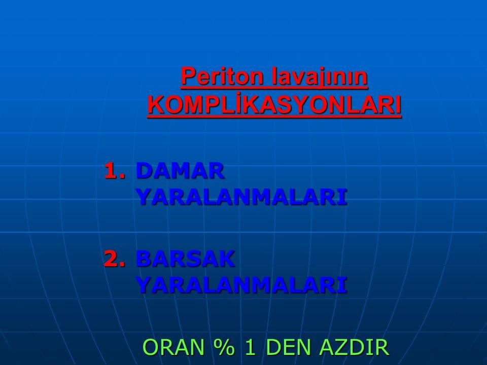 Periton lavajının KOMPLİKASYONLARI 1.DAMAR YARALANMALARI 2.BARSAK YARALANMALARI ORAN % 1 DEN AZDIR