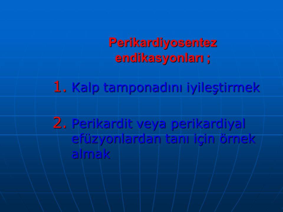 Perikardiyosentez endikasyonları ; 1.Kalp tamponadını iyileştirmek 2.