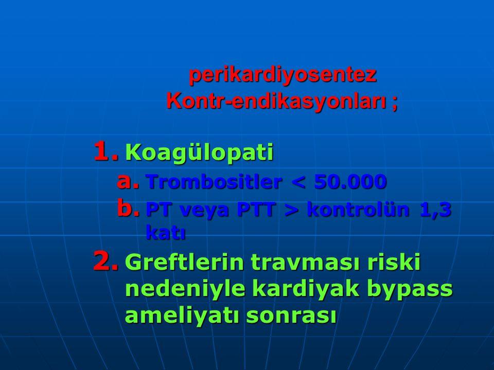 perikardiyosentez Kontr-endikasyonları ; 1.Koagülopati a.