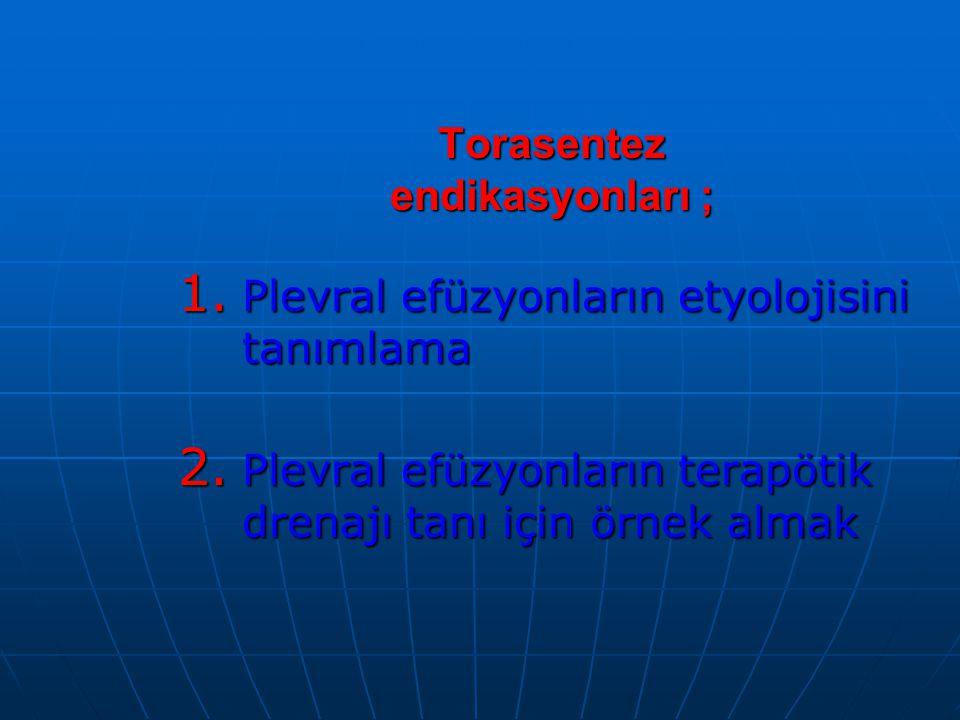 Torasentez endikasyonları ; 1.Plevral efüzyonların etyolojisini tanımlama 2.