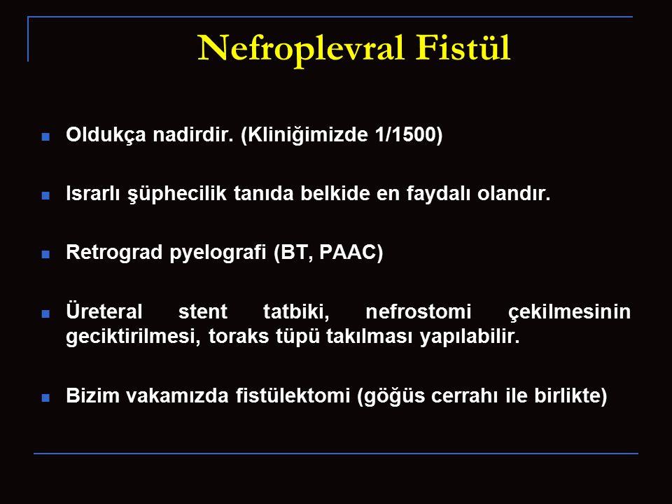 Nefroplevral Fistül Oldukça nadirdir. (Kliniğimizde 1/1500) Israrlı şüphecilik tanıda belkide en faydalı olandır. Retrograd pyelografi (BT, PAAC) Üret