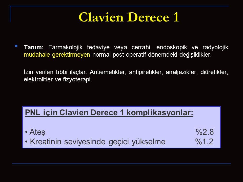 Clavien Derece 1 Tanım: Farmakolojik tedaviye veya cerrahi, endoskopik ve radyolojik müdahale gerektirmeyen normal post-operatif dönemdeki değişiklikl