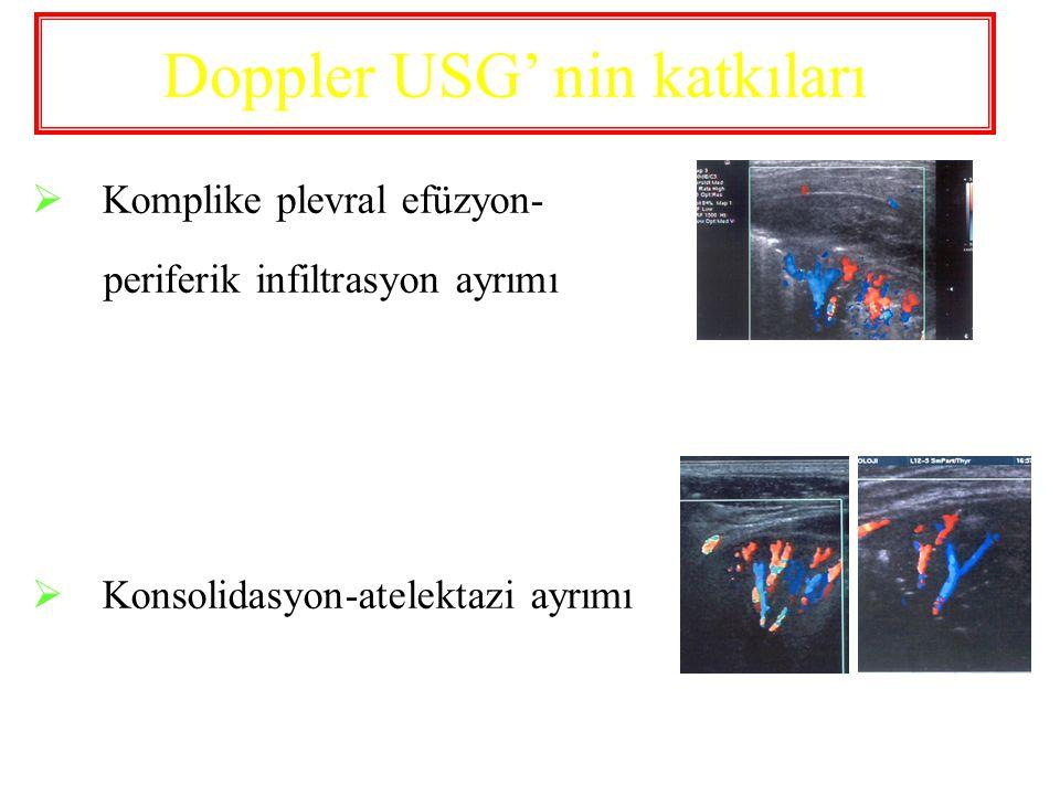 Doppler USG' nin katkıları  Komplike plevral efüzyon- periferik infiltrasyon ayrımı  Konsolidasyon-atelektazi ayrımı