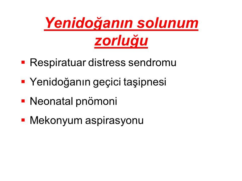 Yenidoğanın solunum zorluğu  Respiratuar distress sendromu  Yenidoğanın geçici taşipnesi  Neonatal pnömoni  Mekonyum aspirasyonu