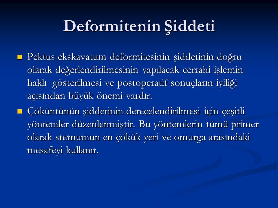 Deformitenin Şiddeti Pektus ekskavatum deformitesinin şiddetinin doğru olarak değerlendirilmesinin yapılacak cerrahi işlemin haklı gösterilmesi ve pos
