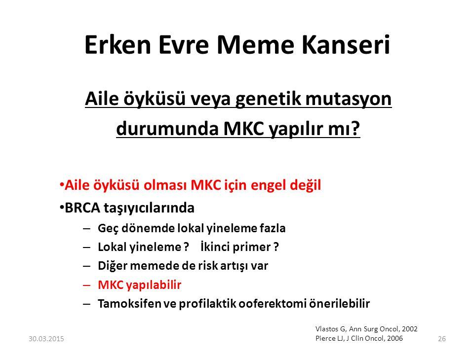 Erken Evre Meme Kanseri Aile öyküsü veya genetik mutasyon durumunda MKC yapılır mı? Aile öyküsü olması MKC için engel değil BRCA taşıyıcılarında – Geç