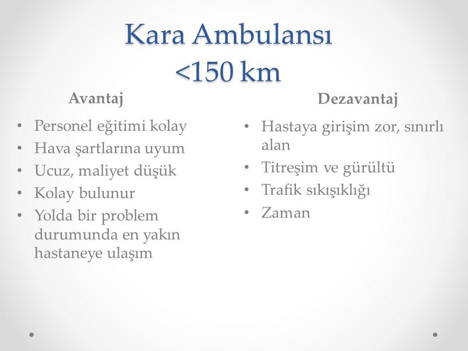 Kara Ambulansı <150 km Avantaj Dezavantaj Personel eğitimi kolay Hava şartlarına uyum Ucuz, maliyet düşük Kolay bulunur Yolda bir problem durumunda en