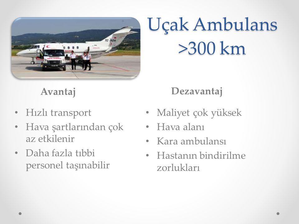 Uçak Ambulans >300 km Avantaj Dezavantaj Hızlı transport Hava şartlarından çok az etkilenir Daha fazla tıbbi personel taşınabilir Maliyet çok yüksek H