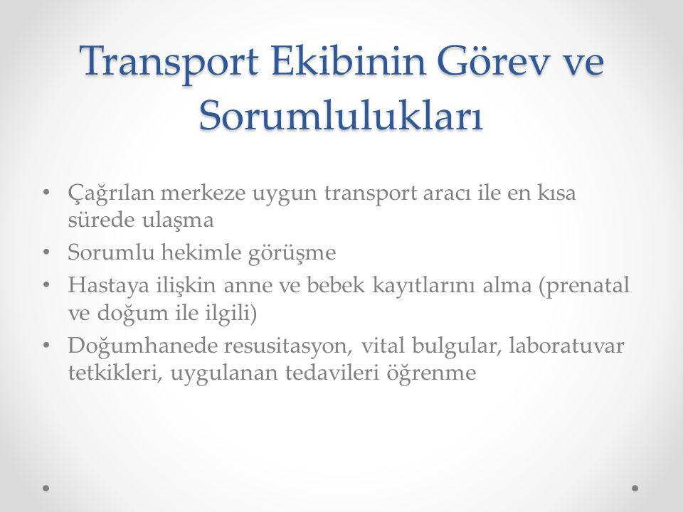 Transport Ekibinin Görev ve Sorumlulukları Çağrılan merkeze uygun transport aracı ile en kısa sürede ulaşma Sorumlu hekimle görüşme Hastaya ilişkin an