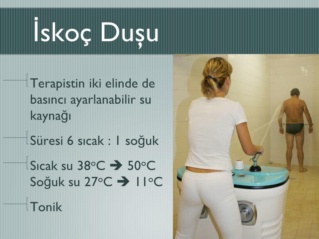 İ skoç Duşu Terapistin iki elinde de basıncı ayarlanabilir su kayna ğ ı Süresi 6 sıcak : 1 so ğ uk Sıcak su 38 o C  50 o C So ğ uk su 27 o C  11 o C