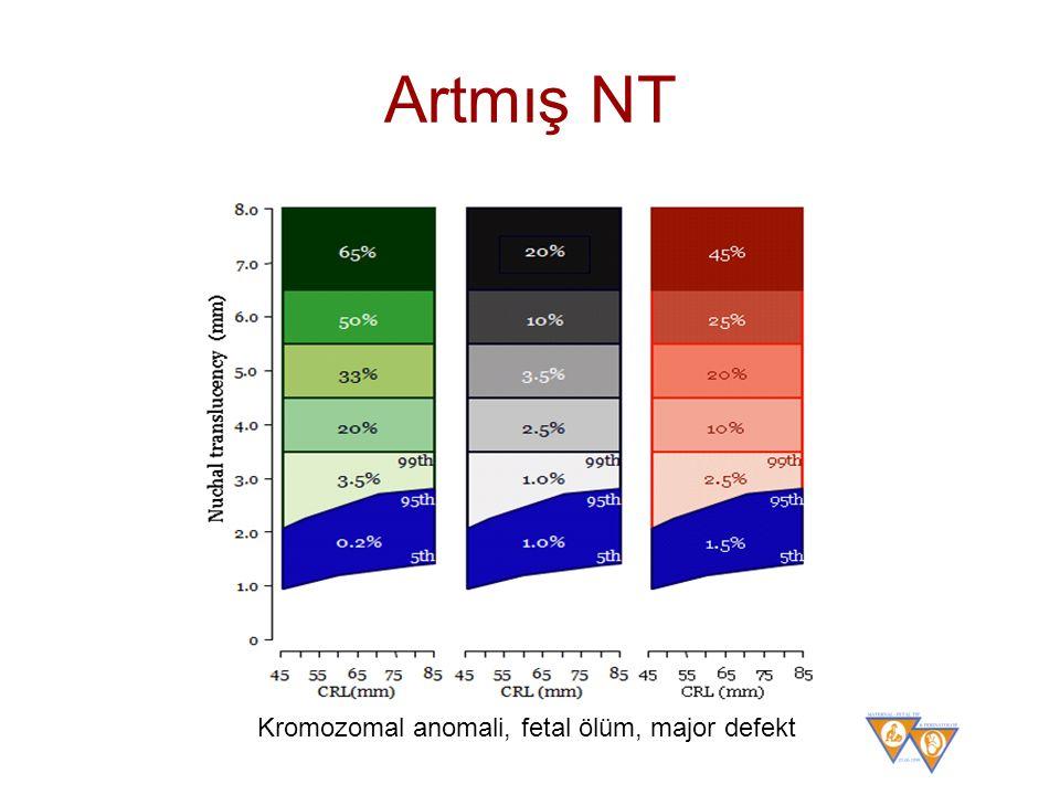 Artmış NT Kromozomal anomali, fetal ölüm, major defekt